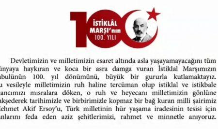 100. Yılında İstiklal Marşımız!
